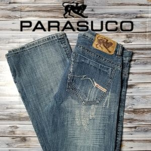 Parasuco Distressed Mens Jeans 32x34 Blue